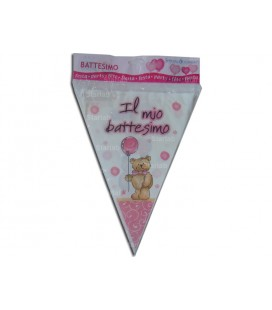 BATTESIMO TEDDY BEAR  rosa bandierine