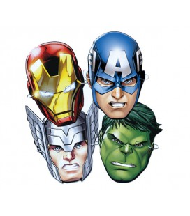 Maschere Party Avengers Super Eroi in carta conf da 6 pz